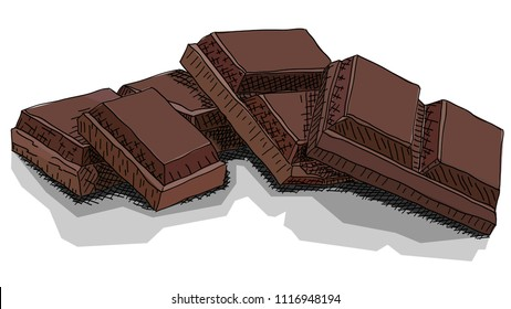 Vector illustration graphic arts sketch of drawing chocolate bars.