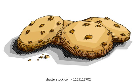 Vector illustration graphic arts sketch of drawing chocolate cookies .