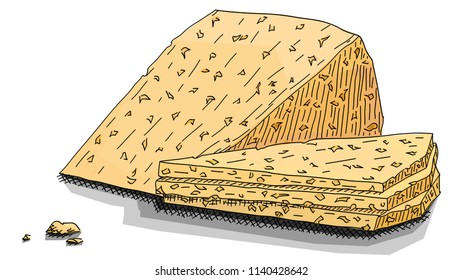 Vector illustration graphic arts sketch of drawing slices of cheese with holes.