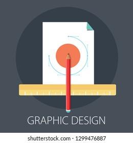 """Vector illustration of graphic design & creative concept with """"graphic design"""" creative abstract design concept. art icon."""