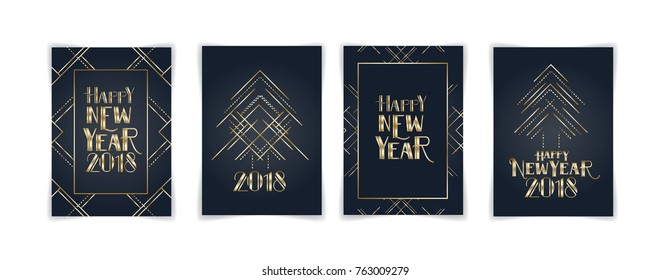 vector illustration. graphic design, happy Christmas and new year 2018. Christmas tree and graphics in art deco geometric style. hipster flyers and postcards
