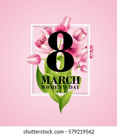vector illustration. graphic design for the international women's day celebration March 8. Icons for registration of booklets, posters, gift cards, discounts and sales