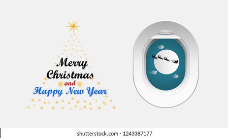 Vector illustration graphic design of Santa Cross sits on a snowmobile with a reindeer on the sky in front of the full moon view from the window of a plane, concept for Christmas day.