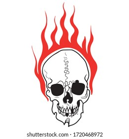 vector illustration of a graphic design of a skull with fire, icon, logo, red symbol, art, tattoo sketch, halloween, horror, use in a print on a t-shirt, background pattern, hand draw, concept