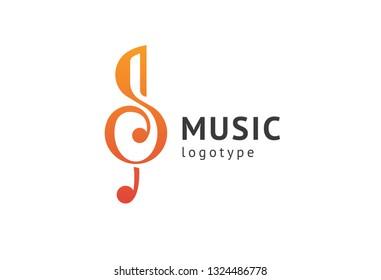 Vector illustration, Graphic Design treble clef logotype. Abstract music icon vector design. Sound recording studio, night party. School of Music, disco, vocal course, composer, singer vector logo