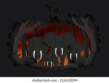 Vector, illustration graphic digital craft style,World elephant day, Concept animal in the forest,Idea for presentation EPS10