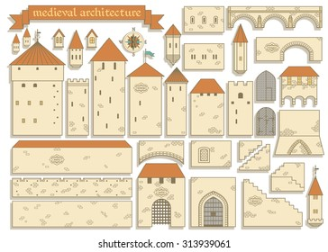 Vector illustration: graphic elements of the european middle ages royal castle isolated on white background - design your own castle for your pattern or web-site