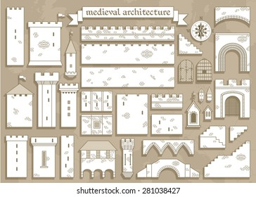 Vector illustration: graphic elements of the middle ages royal castle - design your own castle for your pattern or web-site