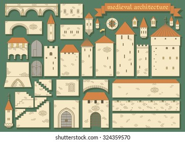 Vector illustration: graphic elements of the middle ages european royal castle - design your own castle for your pattern or web-site isolated on dark green background