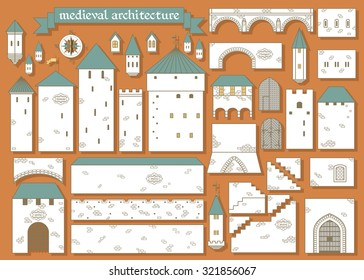 Vector illustration: graphic elements parts of the middle ages royal castle isolated on ginger background - design your own castle for your pattern or web-site