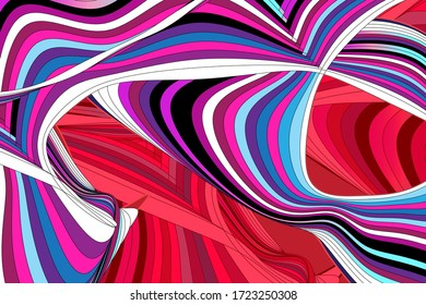 Vector illustration with graphic linear waves and strokes