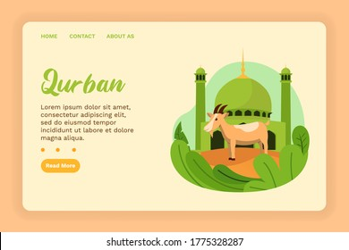 Vector illustration graphic of Qurban. A Mosque with Qurban Goat. Perfect for poster. Vector Illustration