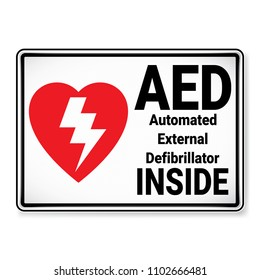 Vector and illustration graphic style, AED Automated External Defibrillator Inside Symbol,label icon on white background, Attracting attention Security First sign, Idea for presentation EPS 10.