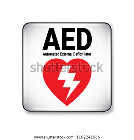 Vector Illustration Graphic Style Aed Symbollabel Stock Vector