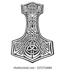 Vector illustration in graphic style. Hammer of God. Scandinavian mythology.