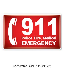 Vector and illustration graphic style,911 Police Fire Medical Emergency Symbol,label icon isolated on white background, Attracting attention Security First sign,Idea for presentation EPS 10.