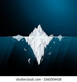 Vector and illustration graphic style,Antarctic iceberg in the ocean,concept underwater background, Beautiful polar sea,Idea for presentation for you,EPS10.