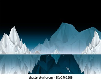Vector and illustration of graphic style,Antarctic iceberg in the ocean,concept underwater background, Beautiful polar sea,Idea for presentation for you,EPS10.