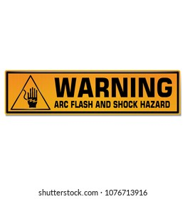Vector and illustration graphic style,Arc Flash and Shock Hazard symbol,Yellow rectangle Warning Dangerous icon on white background,Attracting attention Security First sign,Idea for presentation EPS10