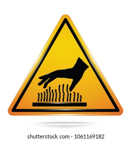 Vector and illustration graphic style,Caution do not touch hot surface symbol,Yellow triangle Warning Dangerous icon on white background,Attracting attention Security First sign,for presentation,EPS10