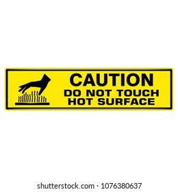 Vector and illustration graphic style,Caution do not touch hot surface symbol,Yellow rectangle Warning Dangerous icon on white background,Attracting attention Security First sign,Idea for presentation