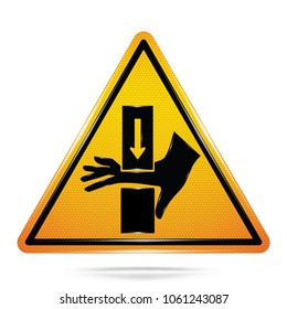Vector and illustration of graphic style,Danger keep hand away symbol,Yellow triangle Warning Dangerous icon on white background, Attracting attention Security First sign,Idea for presentation,EPS10.
