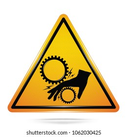 Vector and illustration of graphic style,Danger Rotating Machinery symbol,Yellow triangle Warning Dangerous icon on white background,Attracting attention Security First sign,for presentation,EPS10.