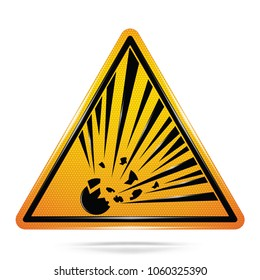 Vector and illustration graphic style,Explosive Material Hazard Symbol,Yellow triangle Warning Dangerous icon on white background,Attracting attention Security First sign,Idea for presentation,EPS10.