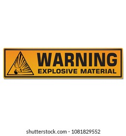 Vector and illustration graphic style,Explosive Material Hazard Symbol,Yellow rectangle Warning Dangerous icon on white background,Attracting attention Security First sign,Idea for presentation EPS10.