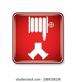 Vector and illustration graphic style,Fire Department Standpipe Connection Symbol,Warning label icon on white background,Attracting attention Security First sign,Idea for presentation EPS10.