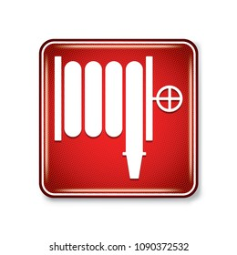 Vector and illustration graphic style,Fire Hose and Standpipe Outlet Symbol,Warning icon on white background,Attracting attention Security First sign,Idea for presentation EPS10.