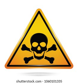 Vector and illustration of graphic style,Toxic Hazard Symbols, Yellow Warning Dangerous icon on white background, Attracting attention Security First sign, Idea for graphic, web design, Vector, EPS10.