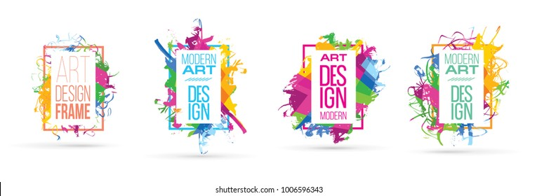 vector illustration. graphics stylish colorful paint stains. design of hipster frames. element for design business cards, invitations, gift cards, flyers and brochures.