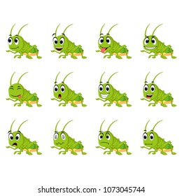 vector illustration of Grasshopper with different facial expressions