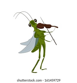 Vector Illustration of a Grasshopper with a Violin