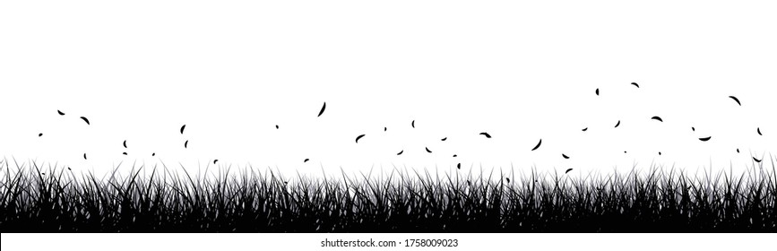 Vector illustration of grassland with grass flying in the wind