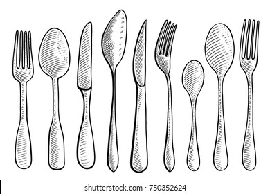 Vector illustration gravure cutlery fork, spoon and knife. Black on white background