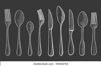 Vector illustration gravure cutlery fork, spoon and knife. White on black background