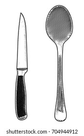 Vector illustration gravure spoon and knife. Black on white background