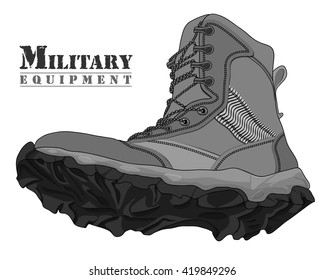 Vector Illustration Gray Army Boot on White Background