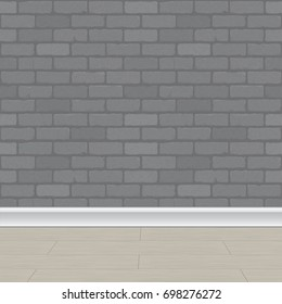 Vector illustration of a gray brick wall background and a wooden floor