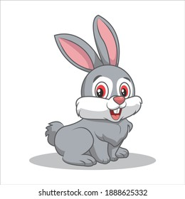 Vector illustration of gray bunny with red eyes baring front teeth