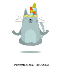 Vector illustration of a gray cat sitting in the lotus position on a white background. He practices yoga. It can be used as a poster, postcard, complimentary yoga and sports center.