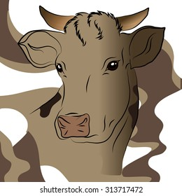 Vector illustration of gray cow. It can be used on the packaging or for the children's book