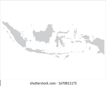 vector illustration of Gray Map of Indonesia