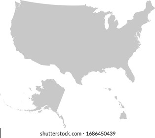 vector illustration of Gray Map of USA with Alaska and Hawaii