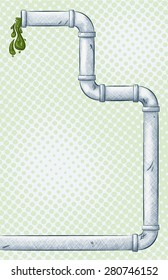 A vector illustration of a gray pipe with pea green goo running out of the end on a light green  halftone background.