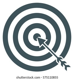 Vector Illustration of Gray Target with Arrow Icon