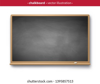 Vector illustration of gray vintage chalkboard with wooden frame with piece of chalk and shadow isolated on white background.