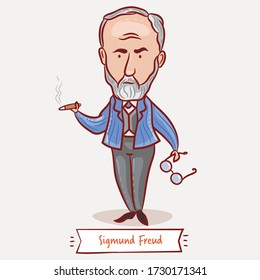 Vector illustration of a great Austrian neurologist and the founder of psychoanalysis Sigmund Freud. Vector caricature. Famous people who changed the world.